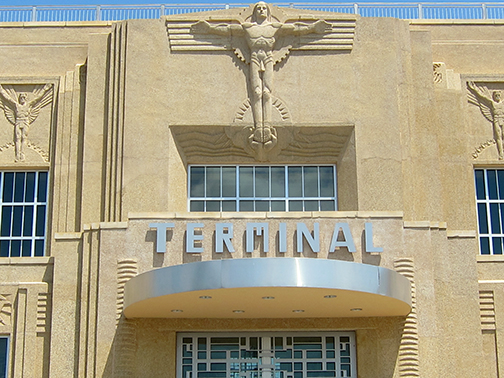 Both the outside and interior of the Lakefront Airport has undergone a stunning restoration.