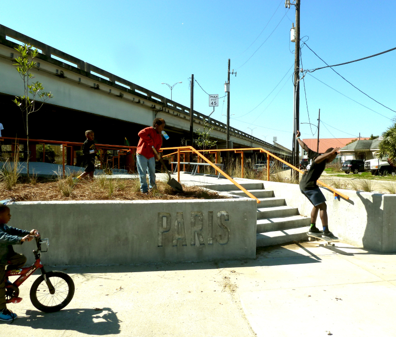 BIG THANKS to Tulane City Center, who just finished Parisite's new entranceway, rain gardens, and seating areas... and it's all skateable!   Along with Tulane's volunteers, skaters painted the entire underside of interstate -- it looks SO FRESH.  Come by for a look at new Spring growth sprouting on the native plants!