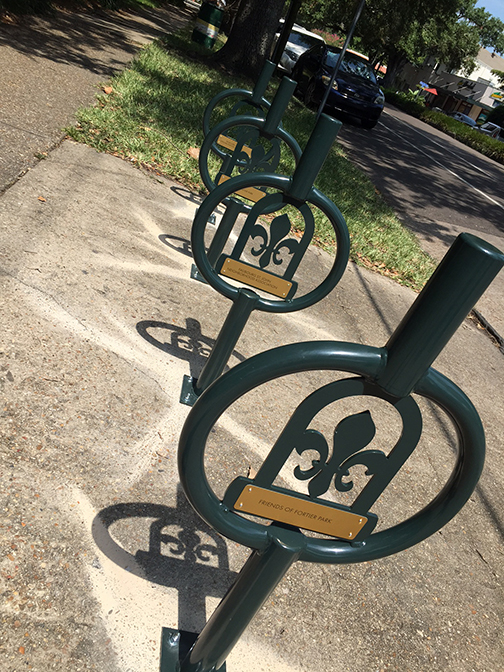 David Armond captured this photo of the bike racks by the bus stop right after they were installed.